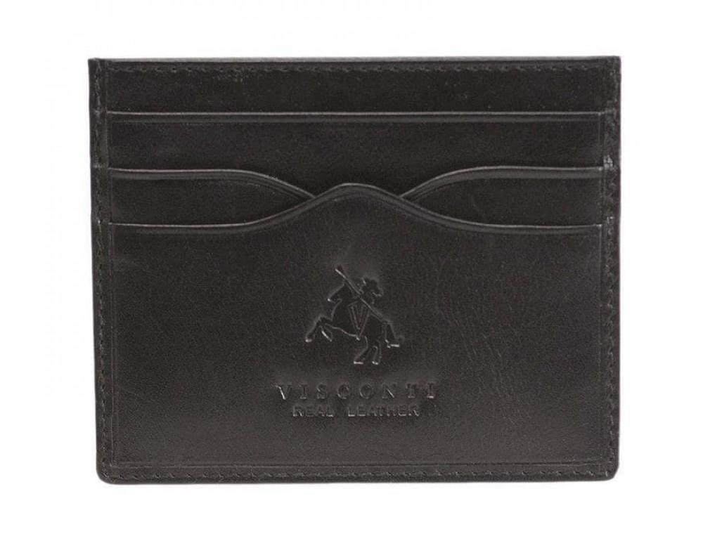 Кожаный кошелек-картхолдер MZ1 IT BLK чёрный - Фото № 1