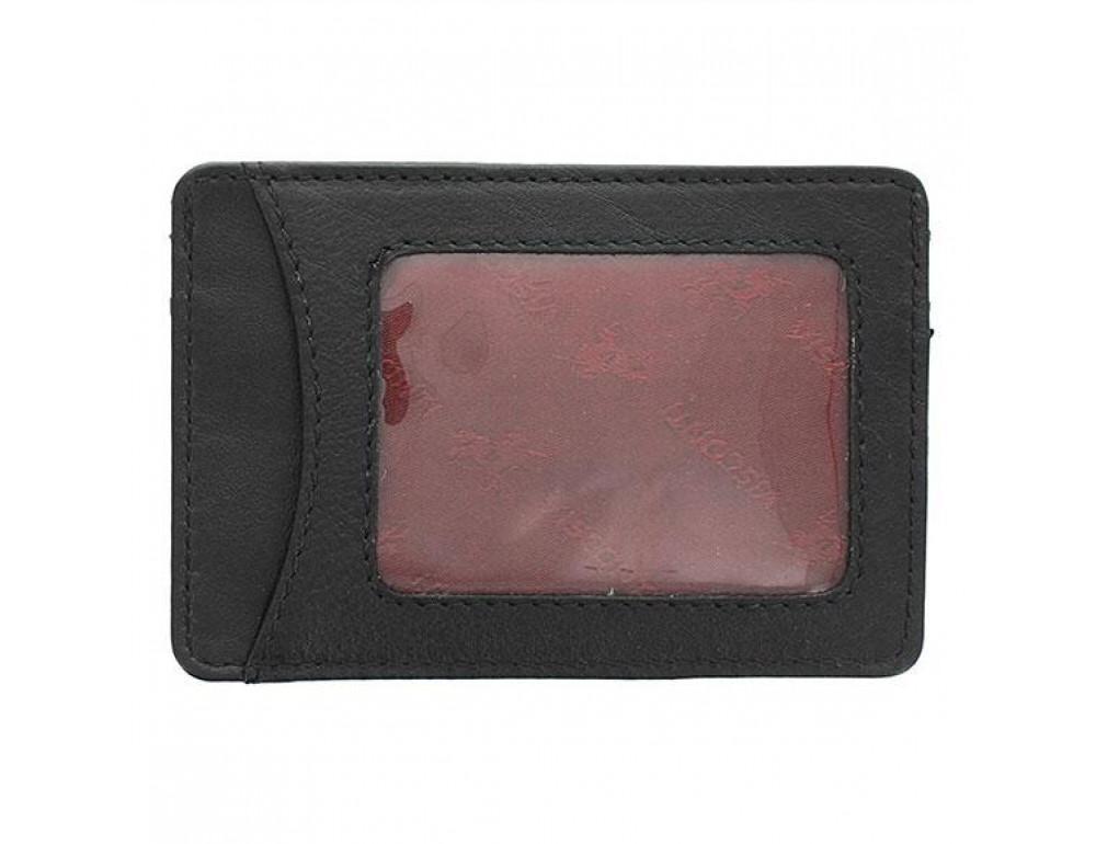 Кожаный кошелек-картхолдер VSL25 BLK с защитой чёрный - Фото № 2