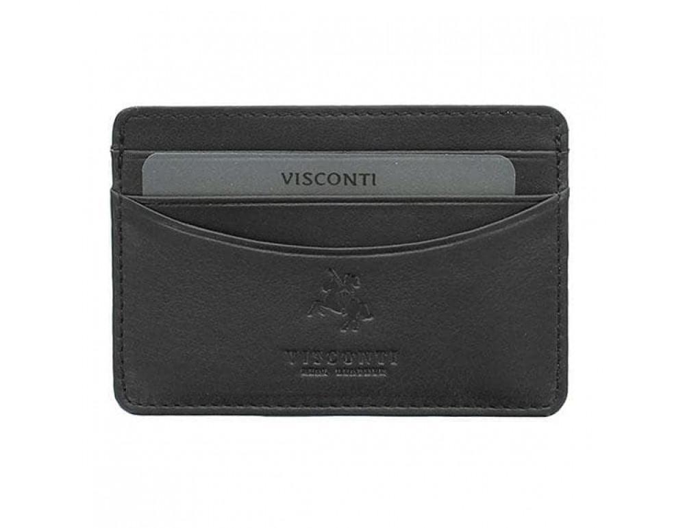 Кожаный кошелек-картхолдер VSL25 BLK с защитой чёрный - Фото № 3