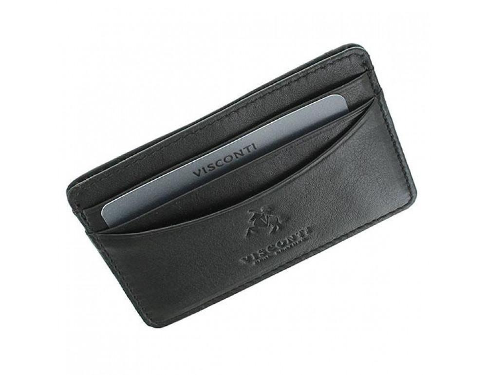 Кожаный кошелек-картхолдер VSL25 BLK с защитой чёрный - Фото № 4