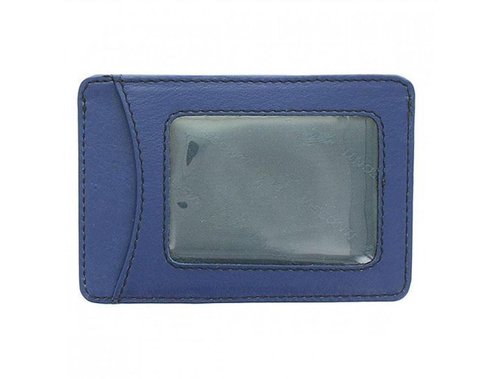 Кожаный кошелек-картхолдер VSL25 BLK/COB с защитой синий - Фото № 2