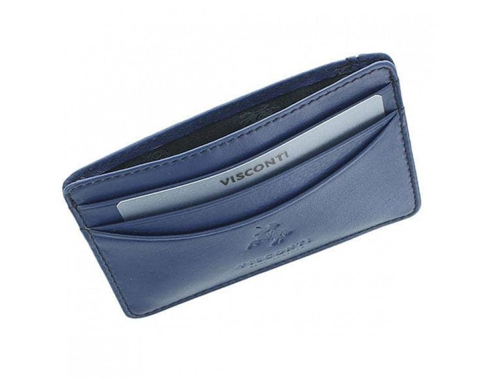 Кожаный кошелек-картхолдер VSL25 BLK/COB с защитой синий - Фото № 3