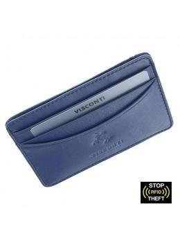 Кожаный кошелек-картхолдер VSL25 BLK/COB с защитой синий
