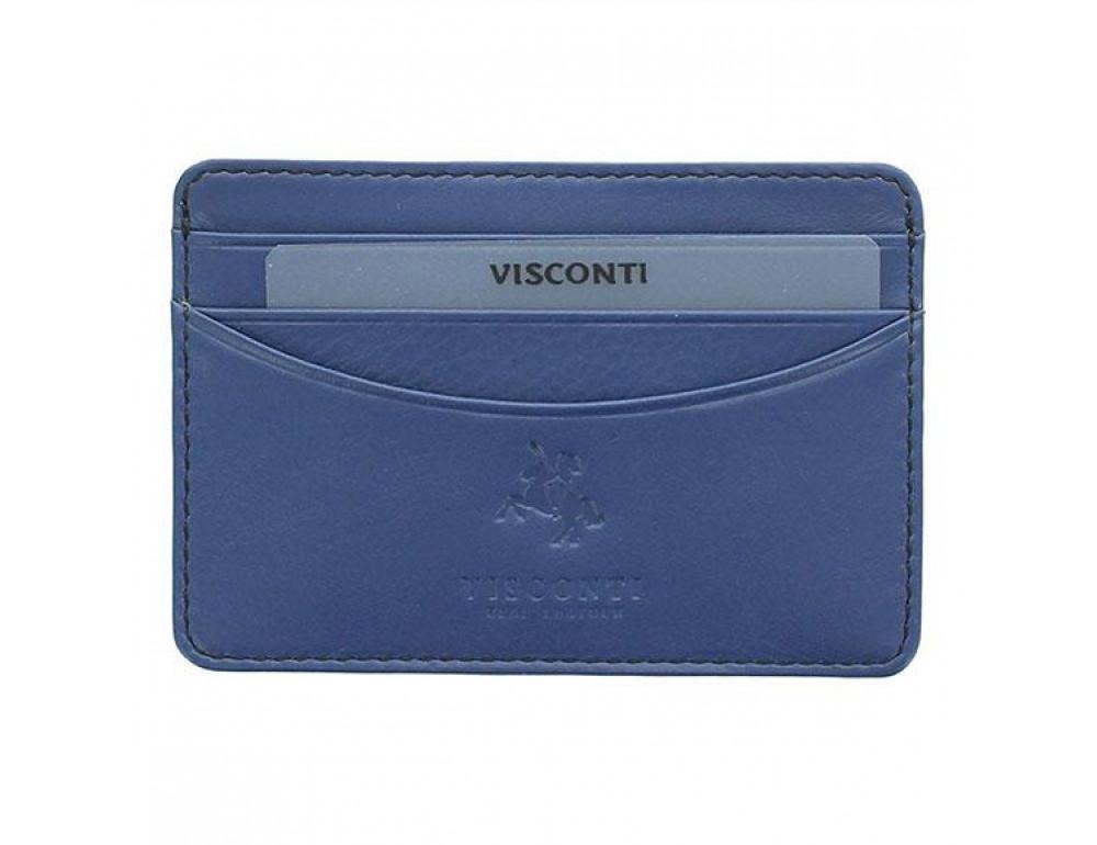 Кожаный кошелек-картхолдер VSL25 BLK/COB с защитой синий - Фото № 4
