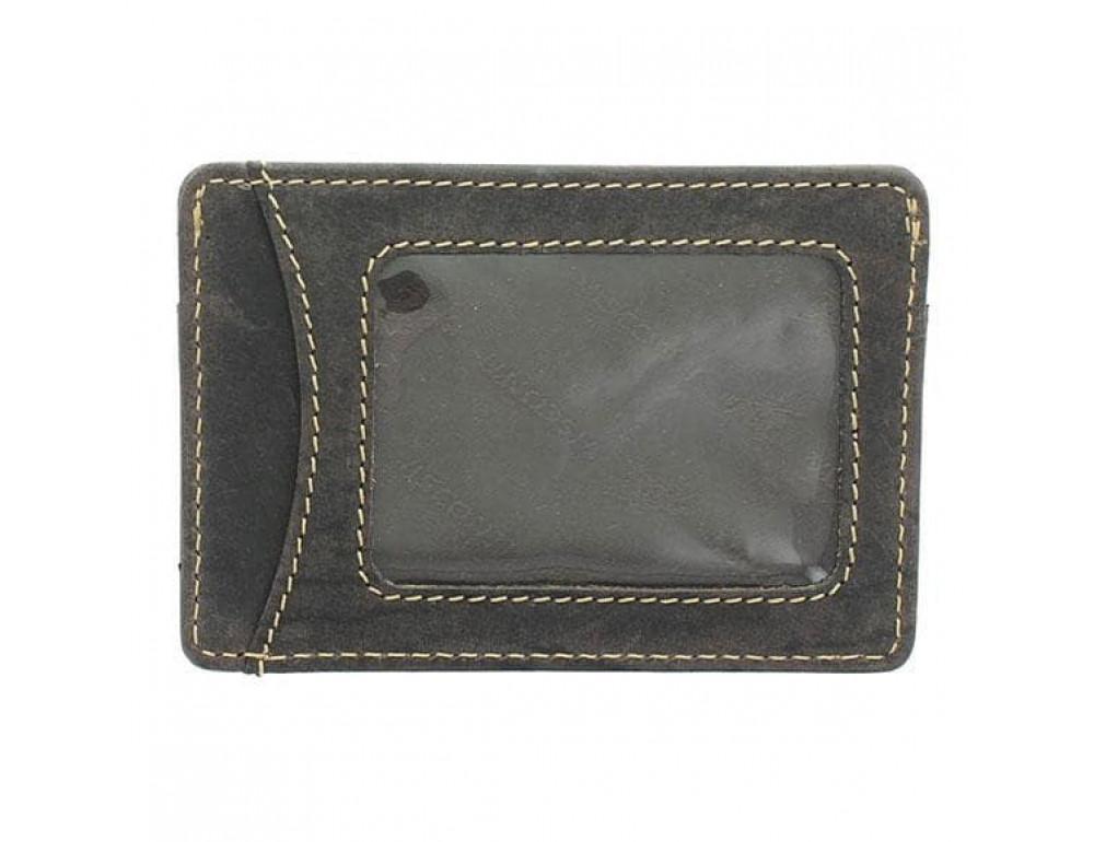 Кожаный кошелек-картхолдер VSL25 OIL BRN с защитой тёмно-коричневый - Фото № 2