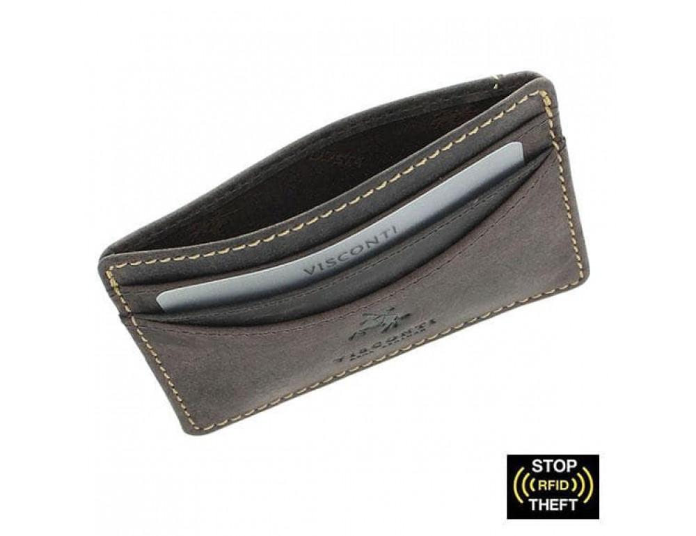 Шкіряний гаманець-Картхолдер VSL25 OIL BRN із захистом темно-коричневий
