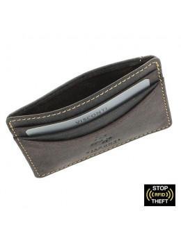 Кожаный кошелек-картхолдер VSL25 OIL BRN с защитой тёмно-коричневый