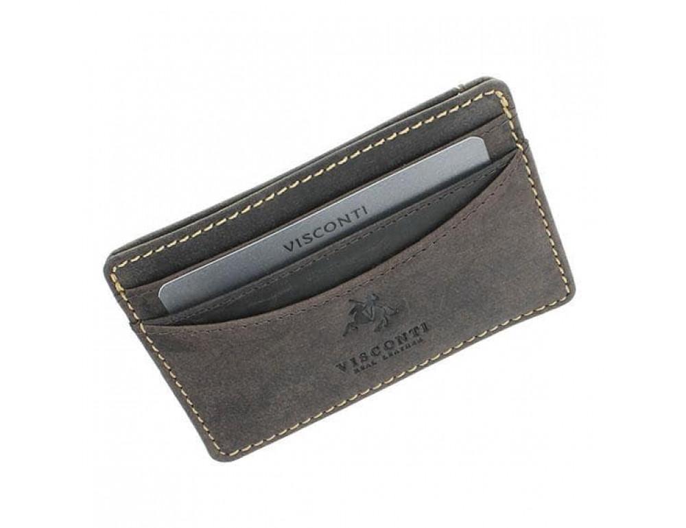 Кожаный кошелек-картхолдер VSL25 OIL BRN с защитой тёмно-коричневый - Фото № 3