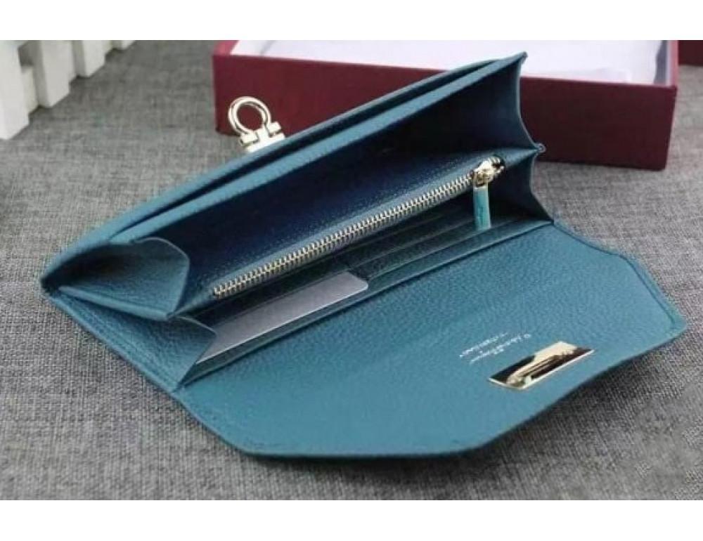 Кожаный кошелёк Salvatore Ferragamo SM-514 бирюзовый - Фото № 3