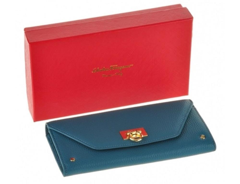 Кожаный кошелёк Salvatore Ferragamo SM-514 бирюзовый - Фото № 4