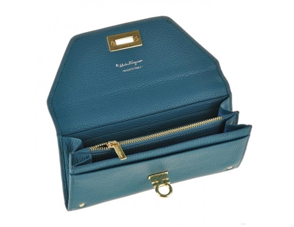 Кожаный кошелёк Salvatore Ferragamo SM-514 бирюзовый - Фото № 5