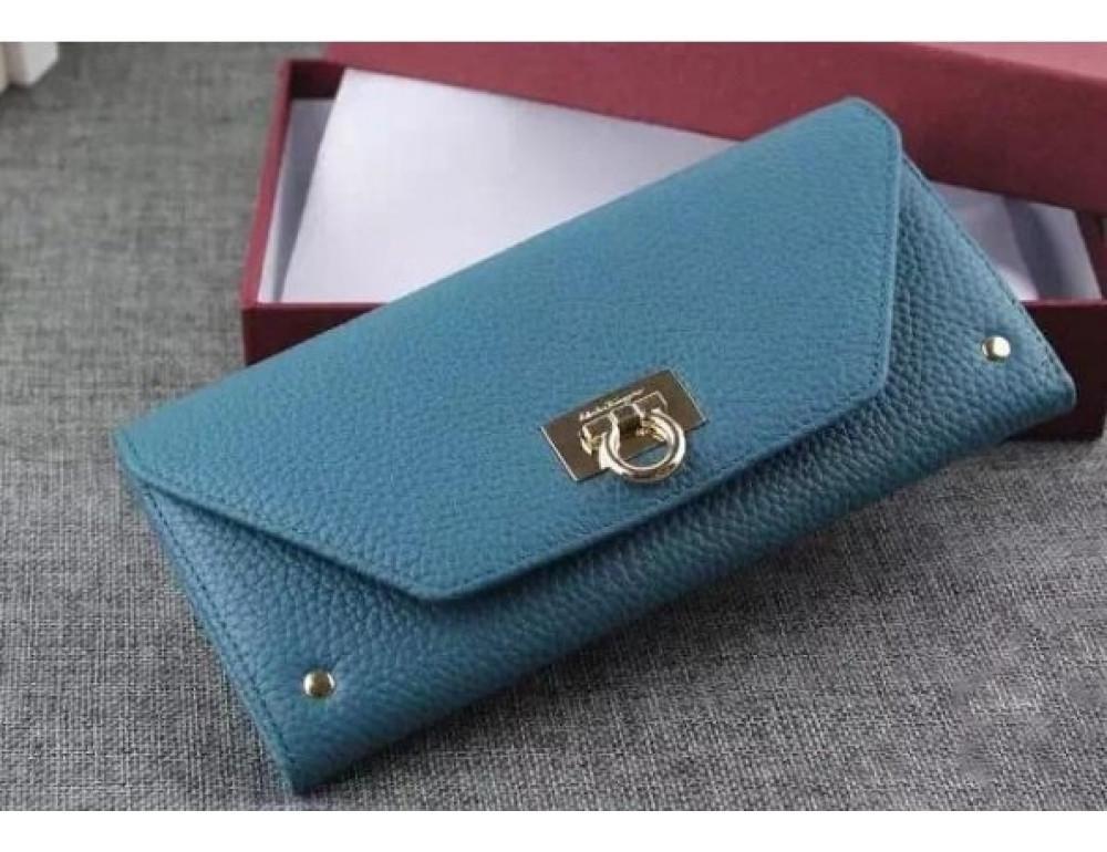 Кожаный кошелёк Salvatore Ferragamo SM-514 бирюзовый - Фото № 2