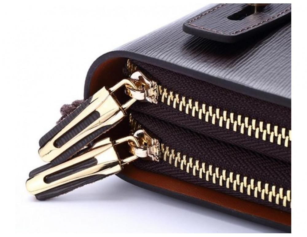 Мужской кожаный клатч HAUTTON SZB83XW коричневый - Фото № 5