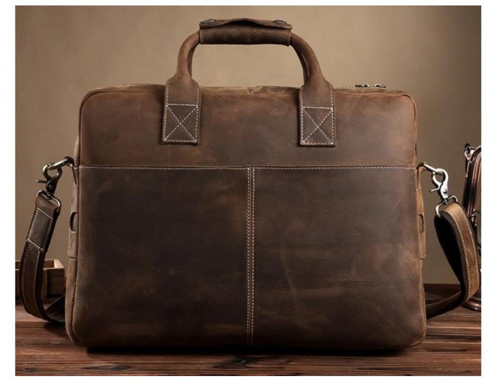Брутальний портфель з кінської шкіри TIDING BAG t1019-1 коричневий - Фотографія № 2