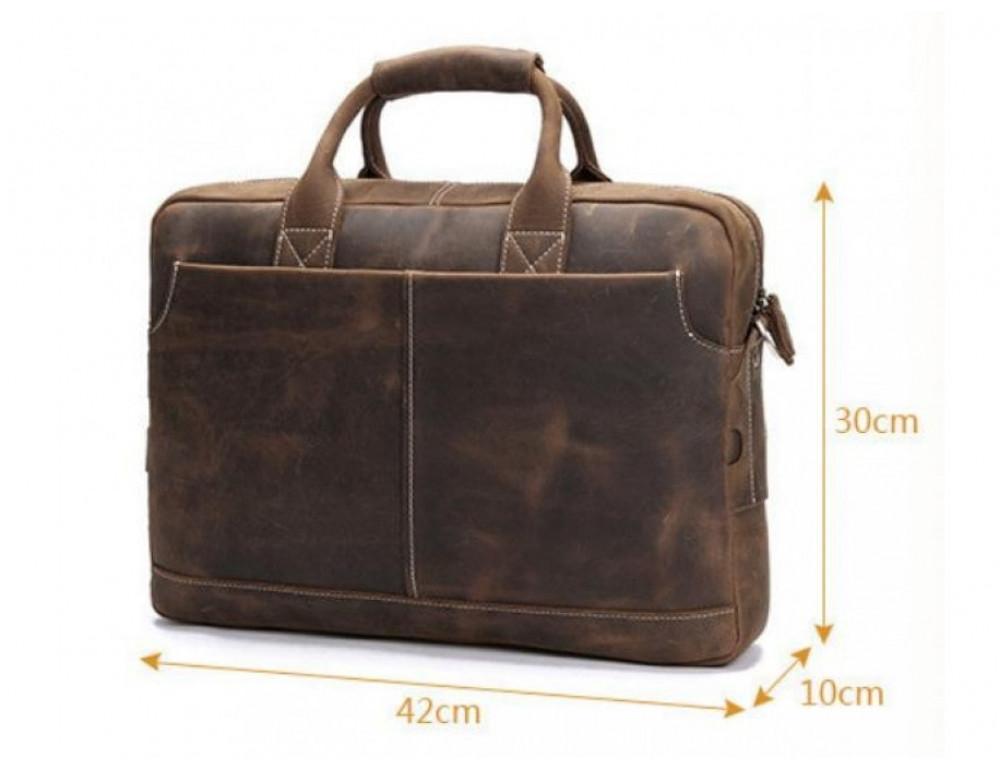 Брутальний портфель з кінської шкіри TIDING BAG t1019-1 коричневий - Фотографія № 3