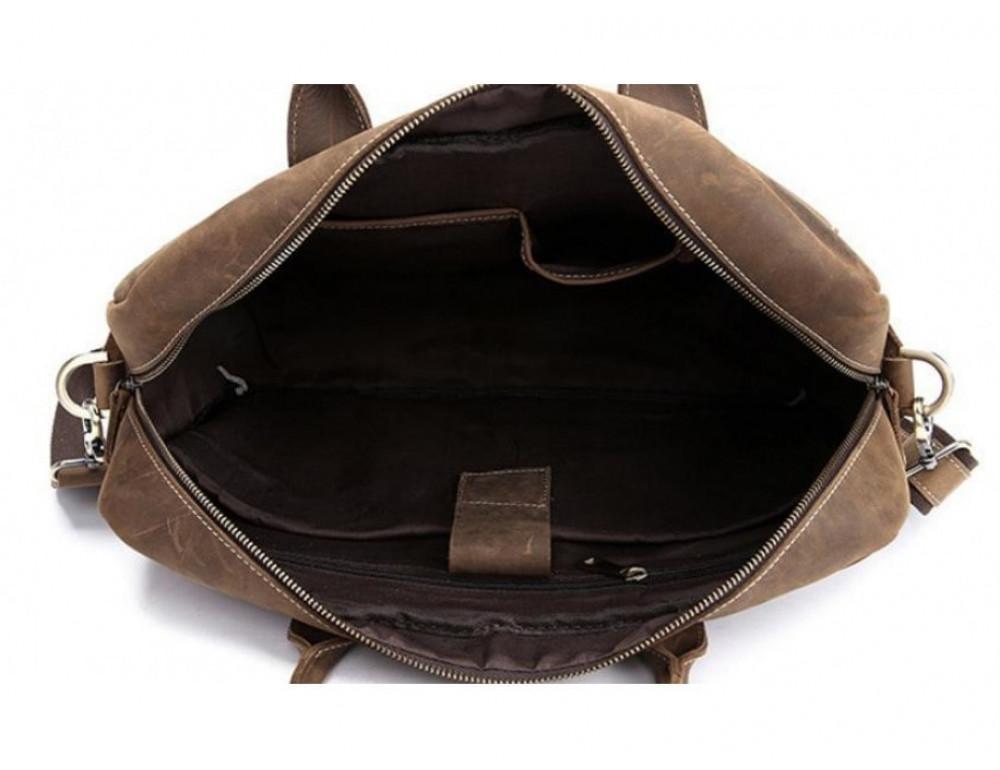 Брутальний портфель з кінської шкіри TIDING BAG t1019-1 коричневий - Фотографія № 4