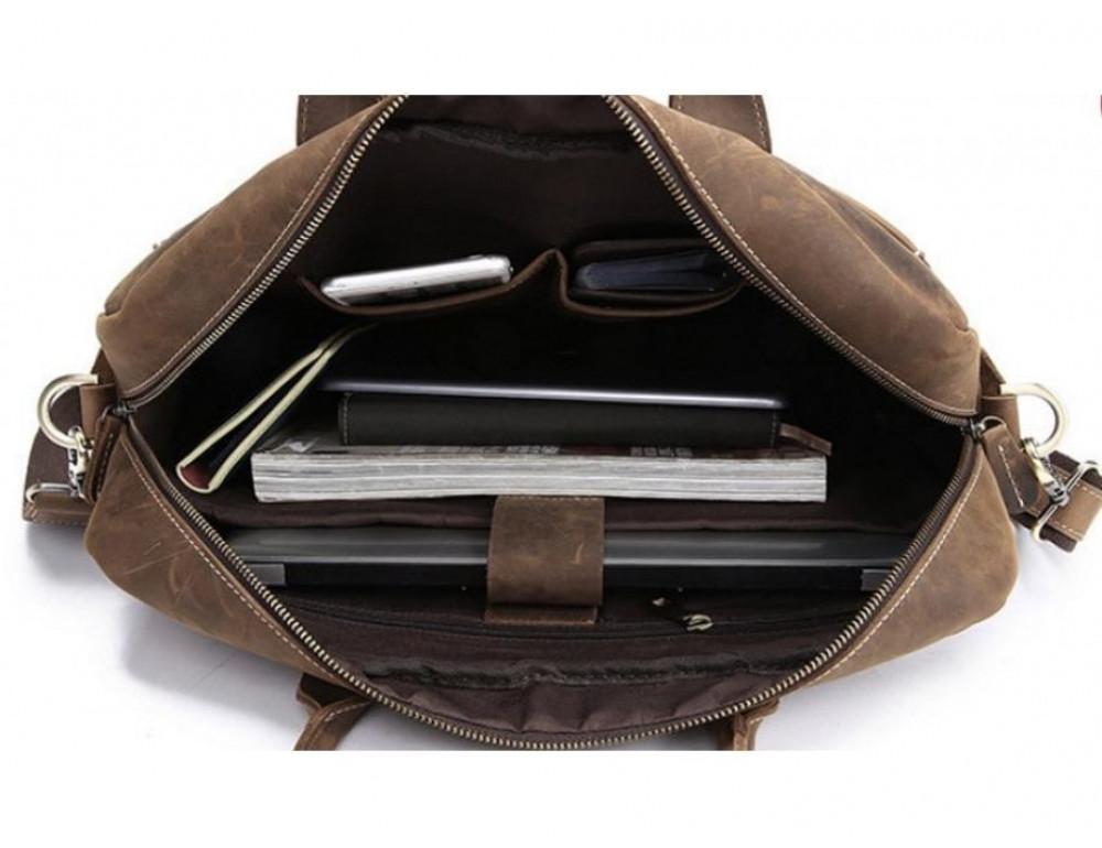 Брутальний портфель з кінської шкіри TIDING BAG t1019-1 коричневий - Фотографія № 5