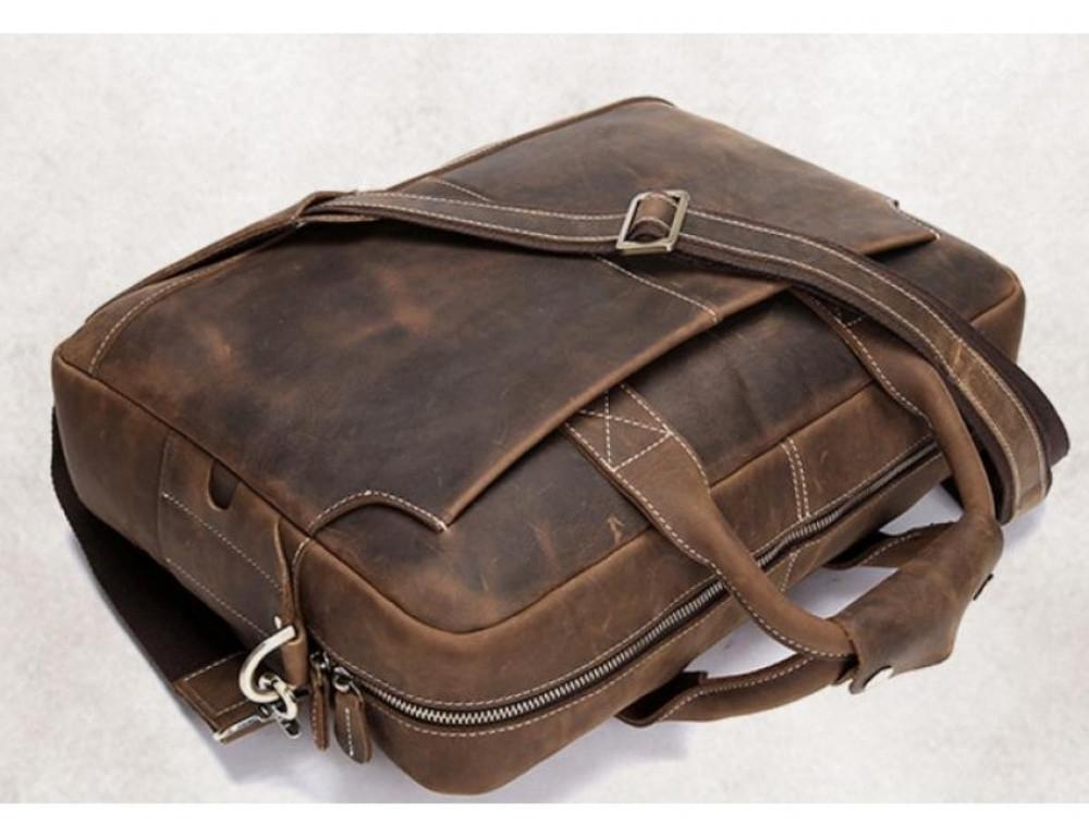 Брутальний портфель з кінської шкіри TIDING BAG t1019-1 коричневий - Фотографія № 6
