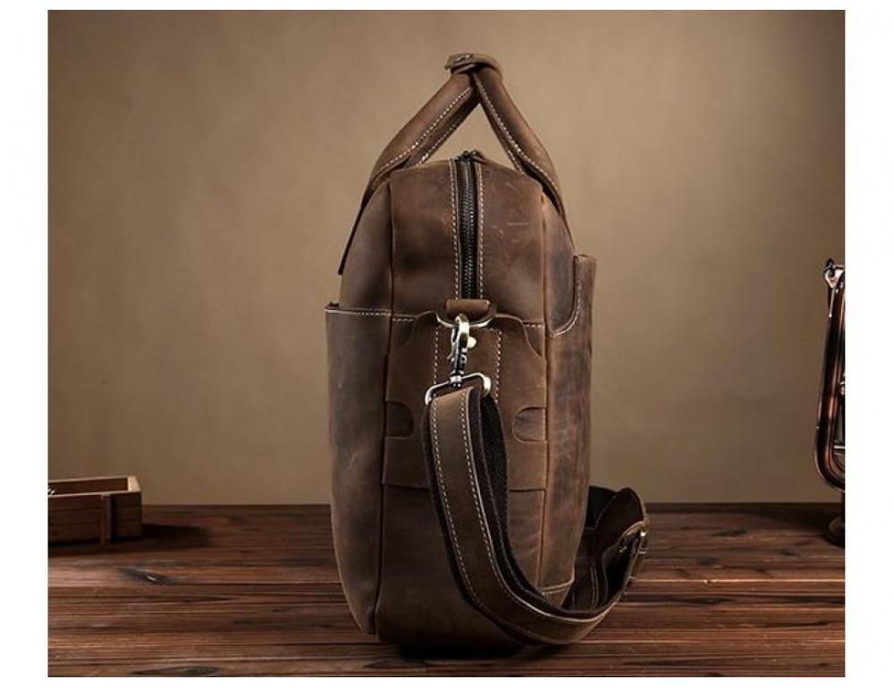 Брутальний портфель з кінської шкіри TIDING BAG t1019-1 коричневий - Фотографія № 7