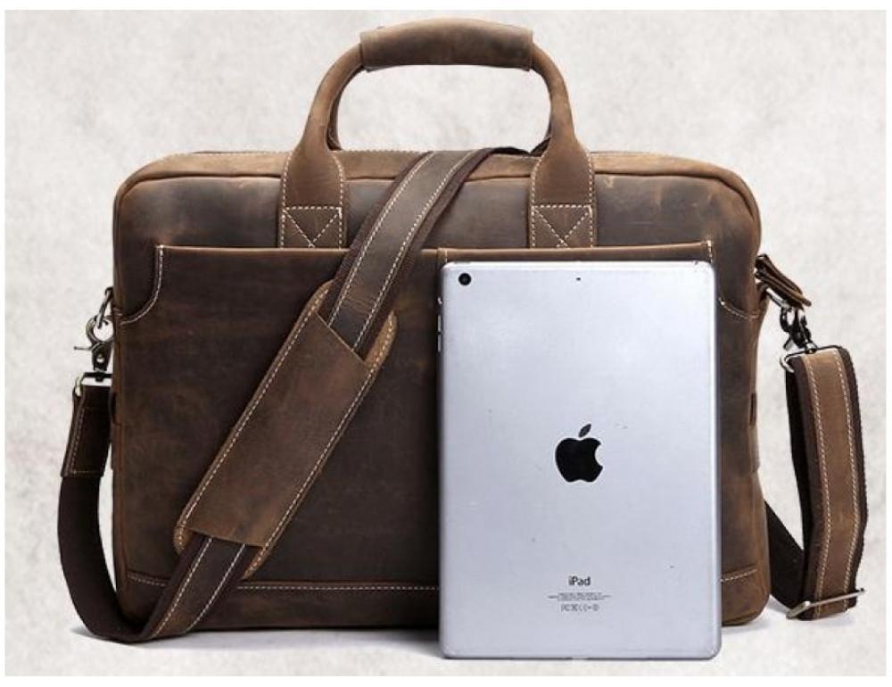 Брутальний портфель з кінської шкіри TIDING BAG t1019-1 коричневий - Фотографія № 8