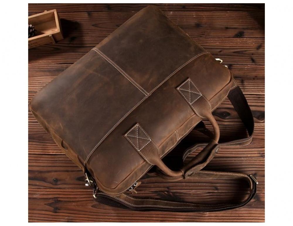 Брутальний портфель з кінської шкіри TIDING BAG t1019-1 коричневий - Фотографія № 11