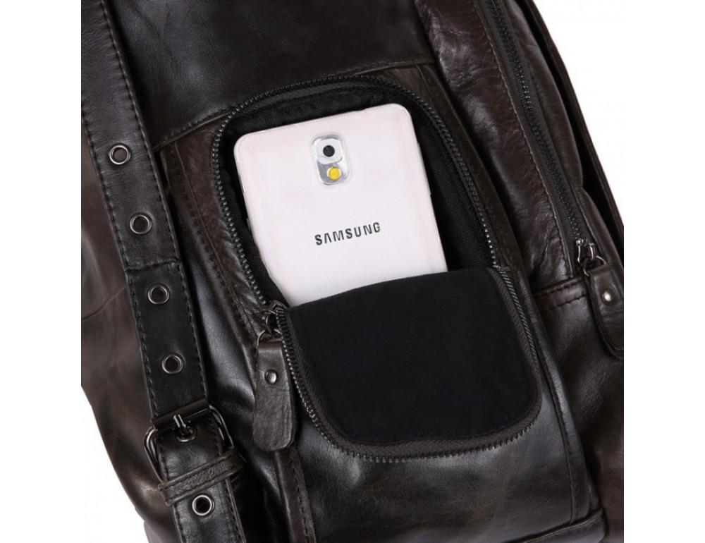 Вместительный городской рюкзак TIDING BAG 7202J серо-коричневый - Фото № 9