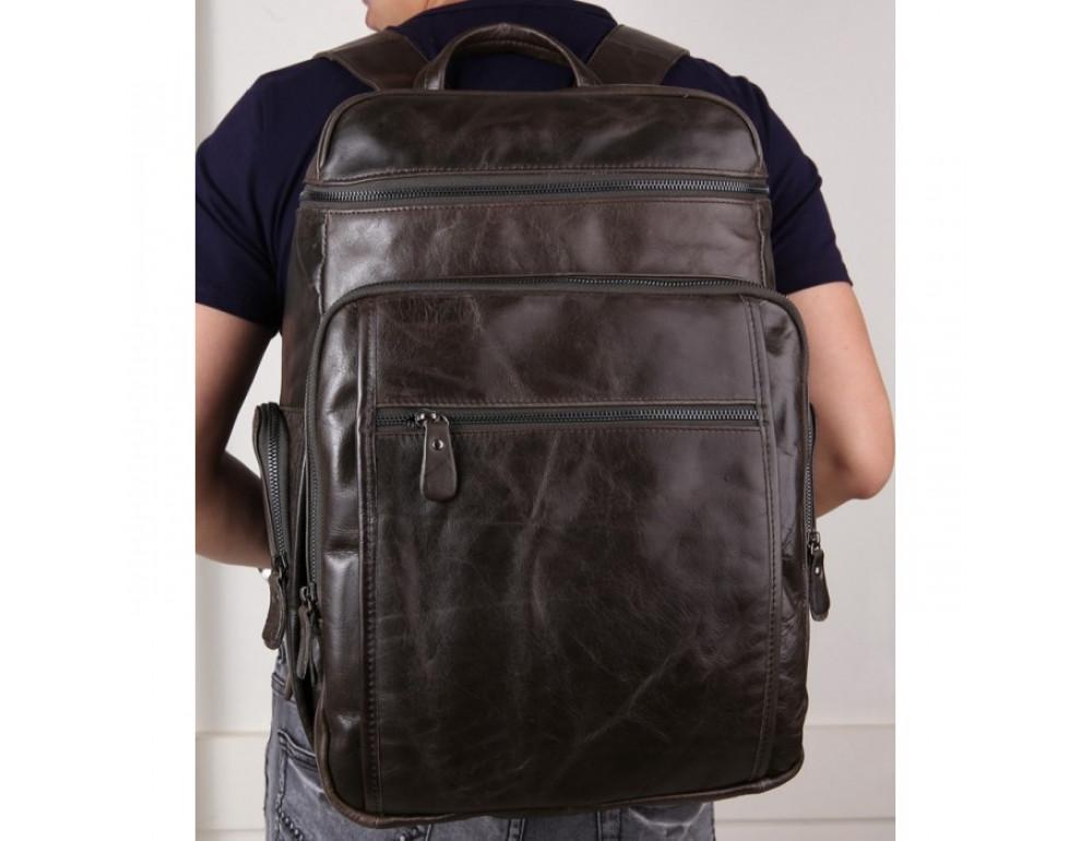 Вместительный городской рюкзак TIDING BAG 7202J серо-коричневый - Фото № 10
