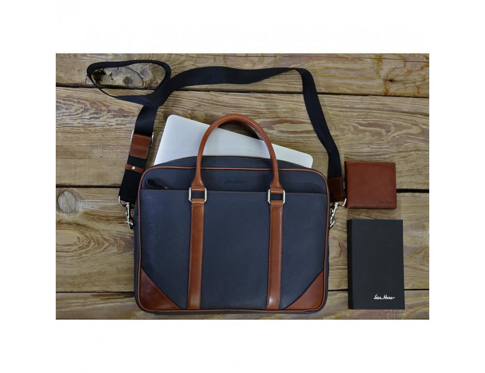 Кожаная сумка под ноутбук Issa Hara B14 13-04 Синий с коричневым - Фото № 5