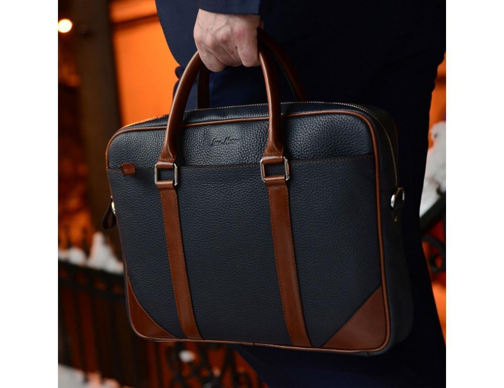 Кожаная сумка под ноутбук Issa Hara B14 13-04 Синий с коричневым - Фото № 1