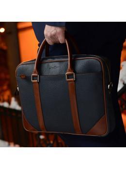 Кожаная сумка под ноутбук Issa Hara B14 13-04 Синий с коричневым
