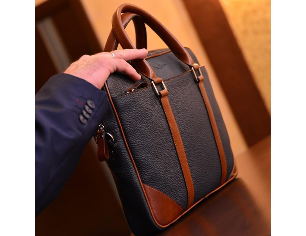 Кожаная сумка под ноутбук Issa Hara B14 13-04 Синий с коричневым - Фото № 6
