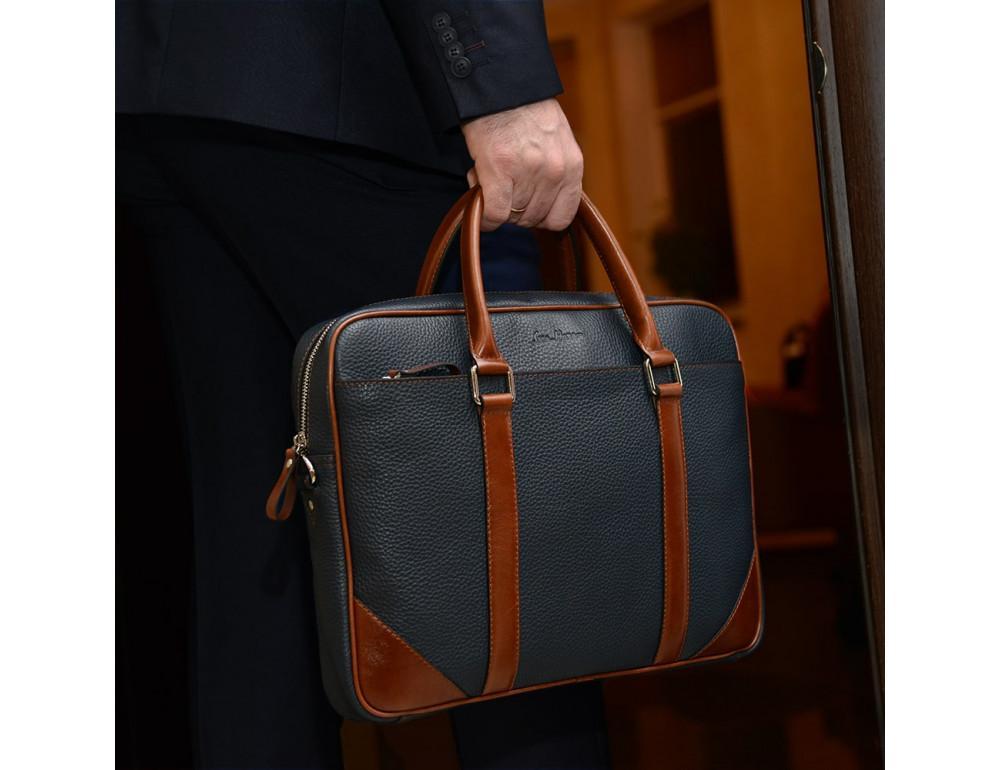 Кожаная сумка под ноутбук Issa Hara B14 13-04 Синий с коричневым - Фото № 7