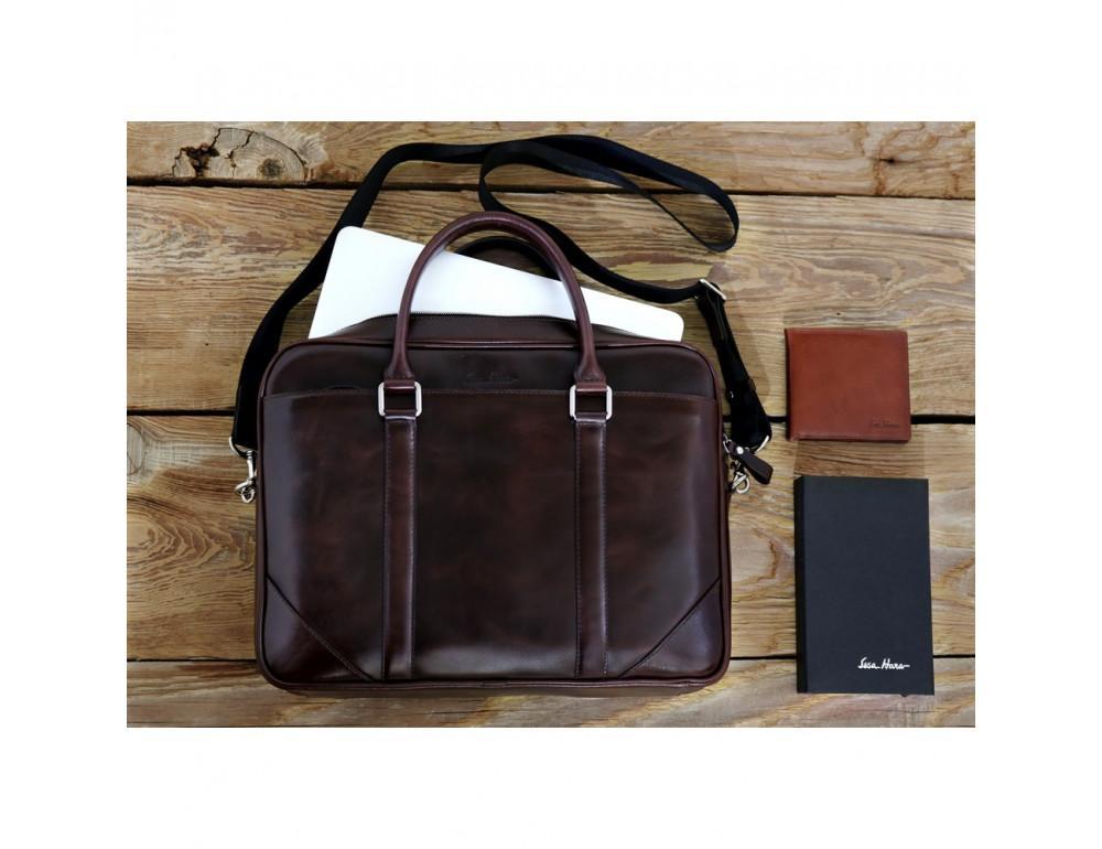 Мужской кожаный портфель Issa Hara B14 (92-00) тёмно-коричневый - Фото № 3