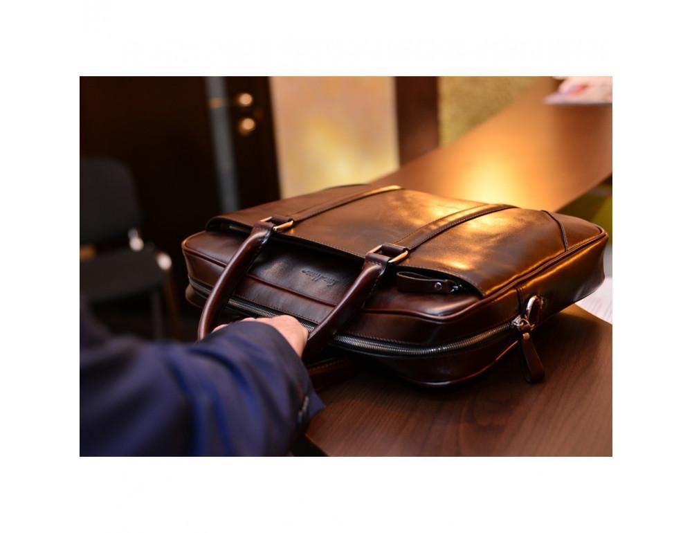 Мужской кожаный портфель Issa Hara B14 (92-00) тёмно-коричневый - Фото № 4