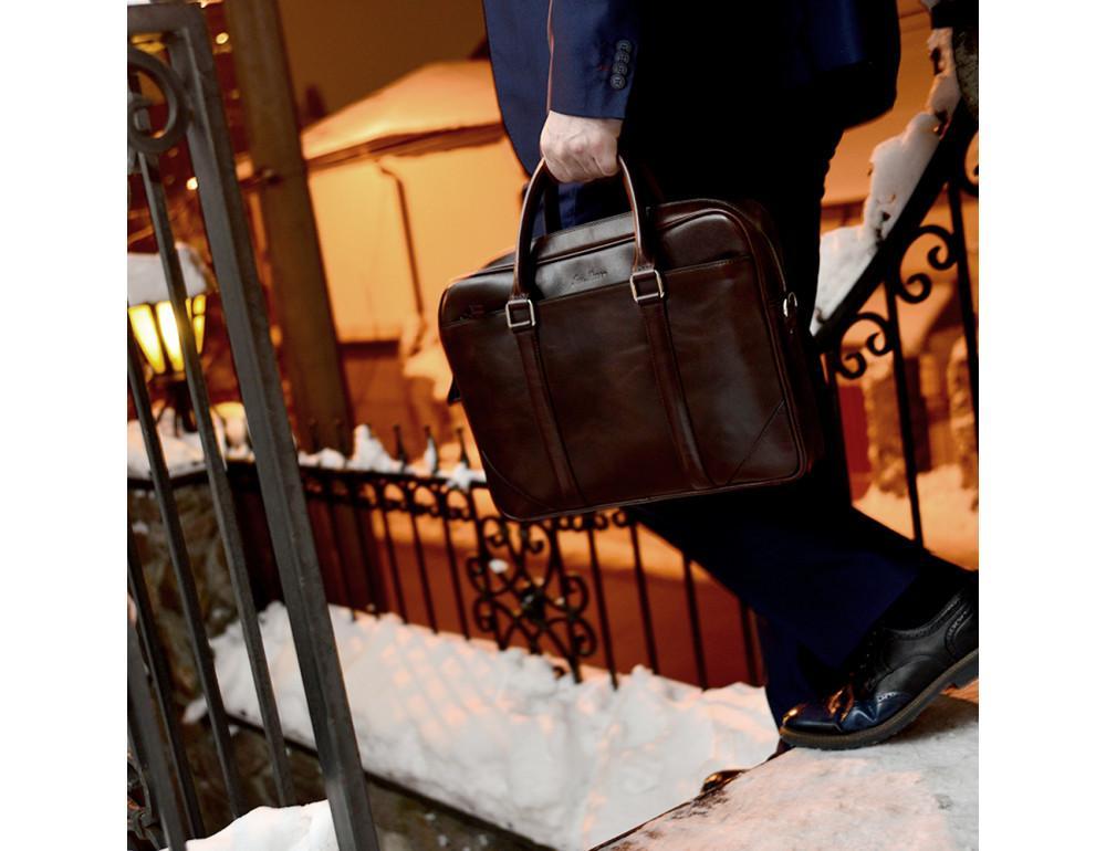 Мужской кожаный портфель Issa Hara B14 (92-00) тёмно-коричневый - Фото № 2