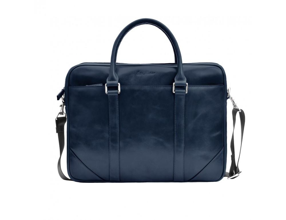 Кожаная сумка под ноутбук Issa Hara b14Bl синий - Фото № 4