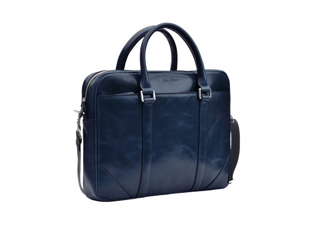 Кожаная сумка под ноутбук Issa Hara b14Bl синий - Фото № 2