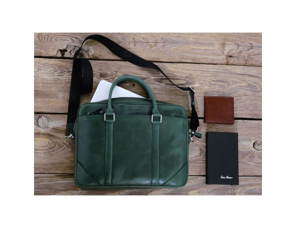 Кожаная сумка под ноутбук Issa Hara b14iz зелёный - Фото № 3