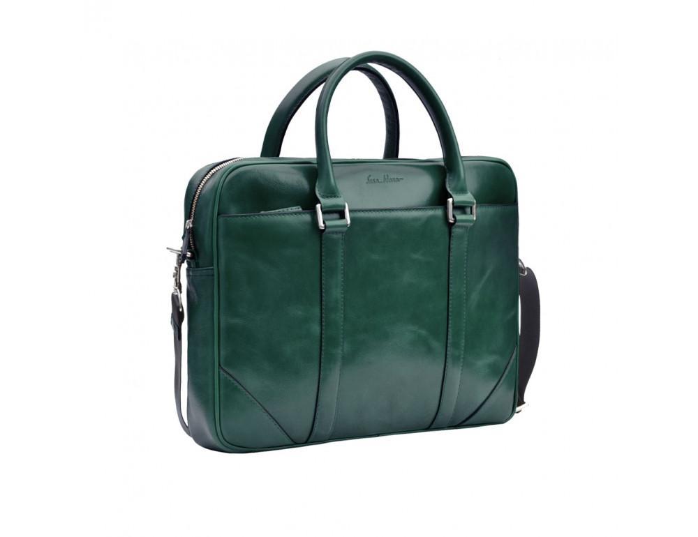 Кожаная сумка под ноутбук Issa Hara b14iz зелёный - Фото № 4