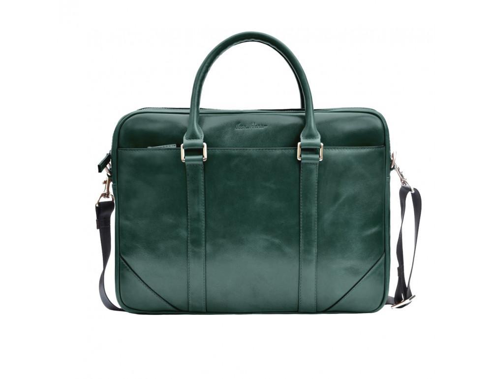 Кожаная сумка под ноутбук Issa Hara b14iz зелёный - Фото № 5