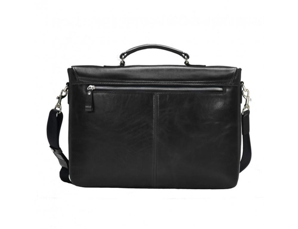 Мужской кожаный портфель с клапаном Issa Hara B35A чёрный - Фото № 3