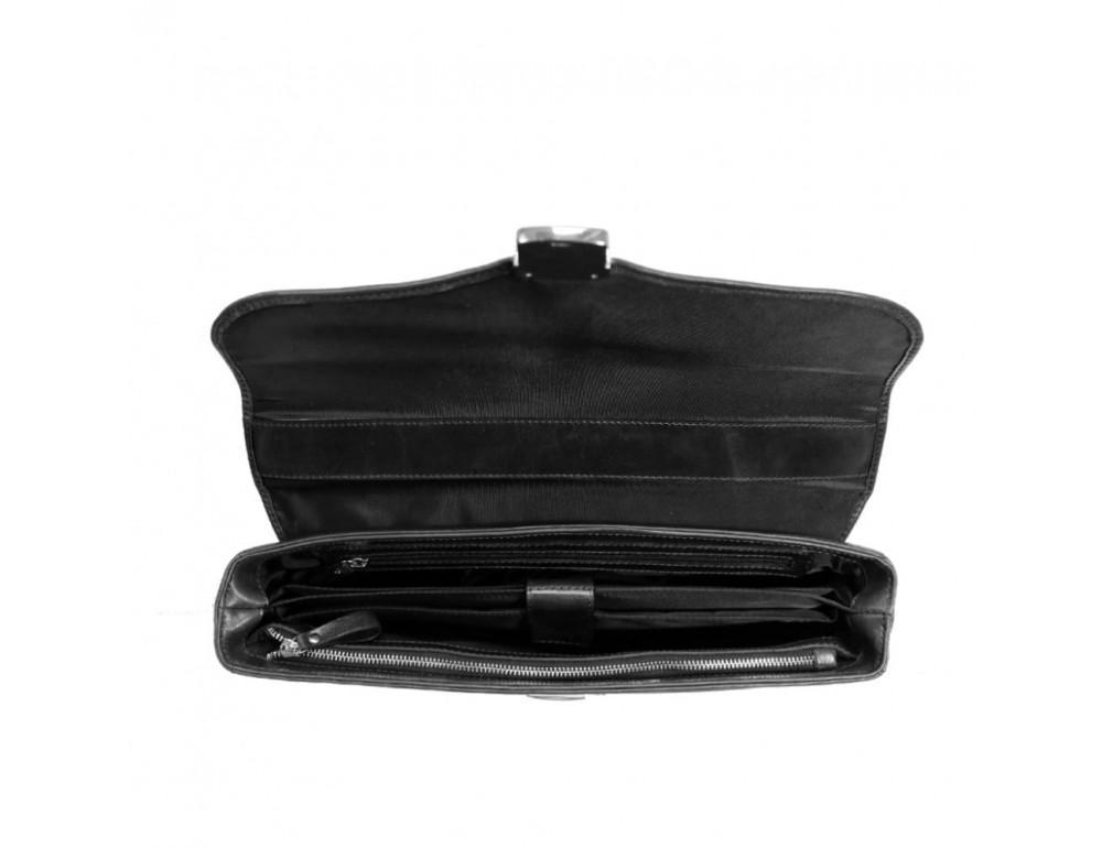 Мужской кожаный портфель с клапаном Issa Hara B35A чёрный - Фото № 2