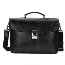 Мужской кожаный портфель с клапаном Issa Hara B35A чёрный