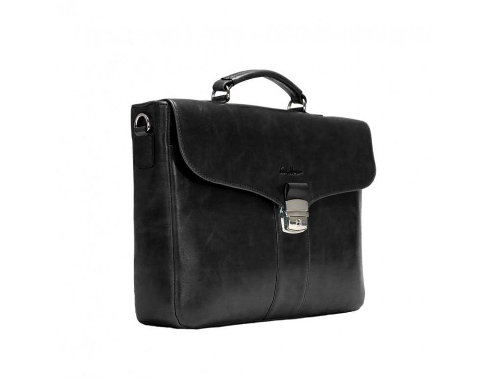 Мужской кожаный портфель с клапаном Issa Hara B35A чёрный - Фото № 4