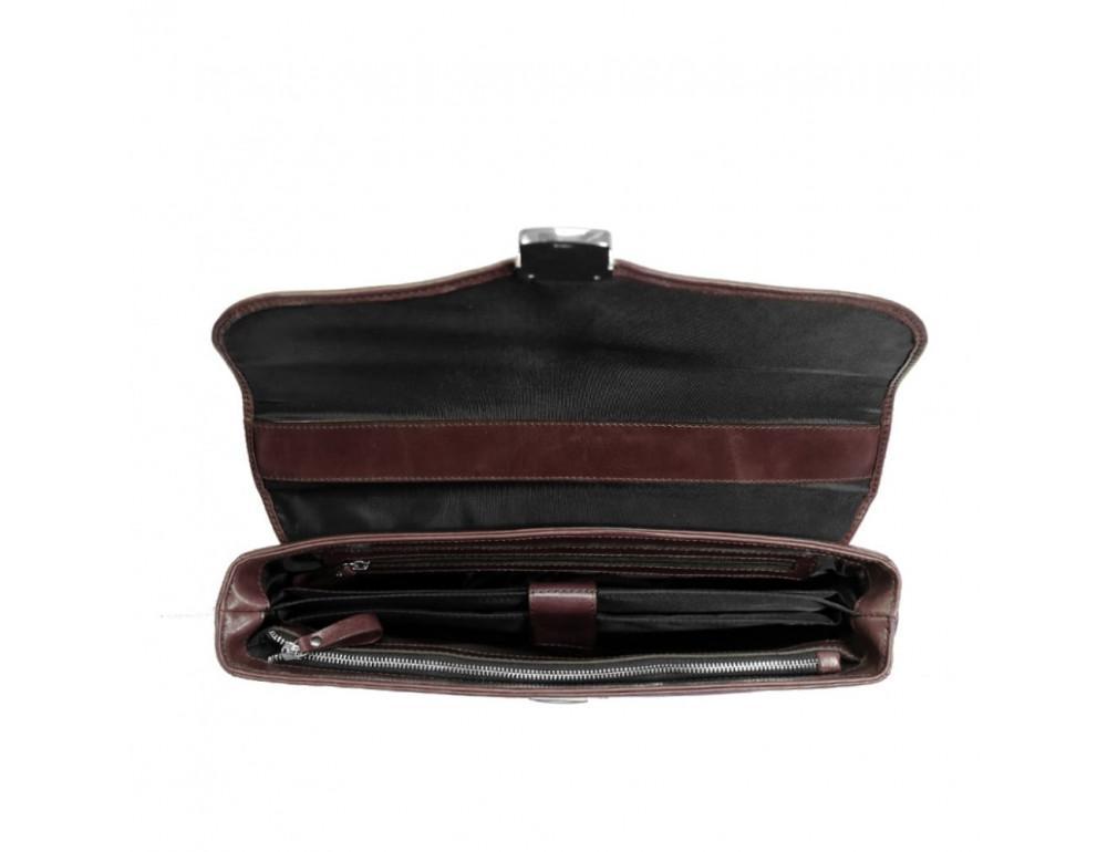 Мужской кожаный портфель с клапаном Issa Hara B35B тёмно-коричневый - Фото № 3