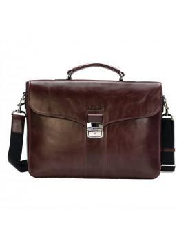 Мужской кожаный портфель с клапаном Issa Hara B35B тёмно-коричневый
