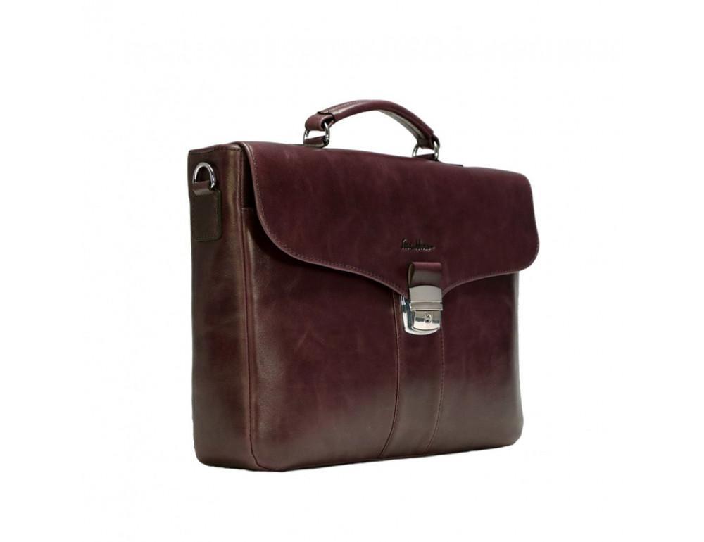 Мужской кожаный портфель с клапаном Issa Hara B35B тёмно-коричневый - Фото № 4