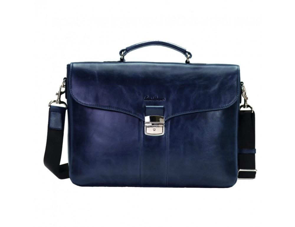 Мужской кожаный портфель с клапаном Issa Hara b35Bl синий - Фото № 1