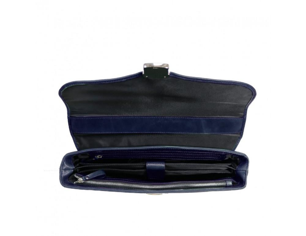 Мужской кожаный портфель с клапаном Issa Hara b35Bl синий - Фото № 3