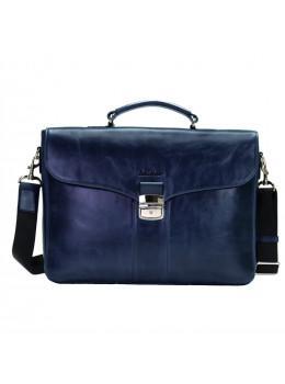 Мужской кожаный портфель с клапаном Issa Hara b35Bl синий